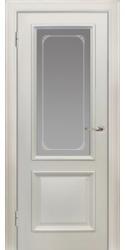 Двери Пассаж, белая эмаль, витраж