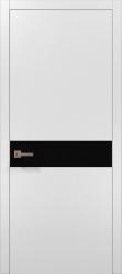 Двери Plato-03 (белый матовый/черное стекло)