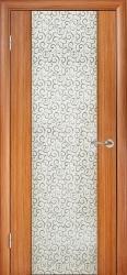 Двери Глазго ПО, цвет тик, декор Черный завиток
