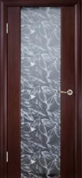 Двери Глазго венге декор Серые листья