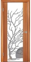 Двери Глазго, тик, декор Дерево с солнцем
