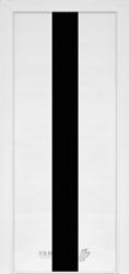 """Двери """"Модель 23"""" ПО ясень белый/черное стекло"""